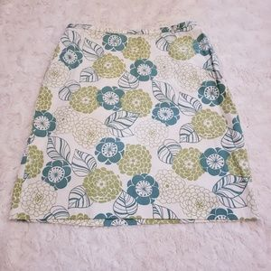 Ann Taylor  white and green floral pencil skirt.
